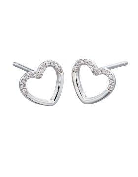 Cubic Zirconia Valentine Heart Earrings