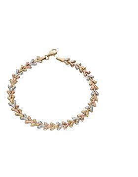 9ct Triple Tone Triangle Bracelet