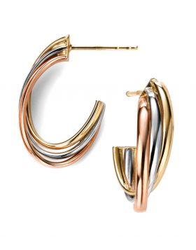 GE2010 9ct YEL/WHT/RSE Open Hoop EAR