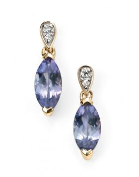 9ct Yellow Gold Diamond and Tanzanite Marquise Earrings