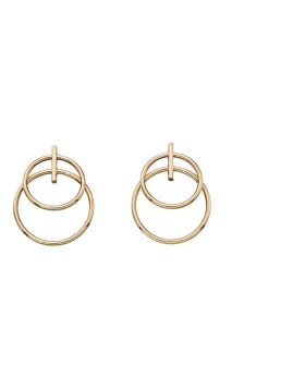 9ct Yellow Gold Double Circle Drop Earrings
