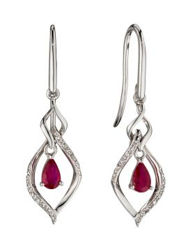 White gold open marquise ruby & diamond earring