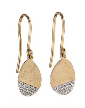 9ct Yellow Gold and Diamond Scratch Effect Earrings
