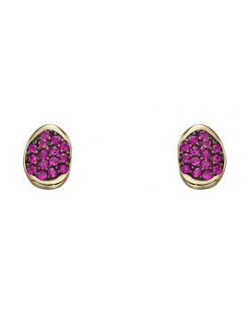 Yellow gold and pave ruby earring