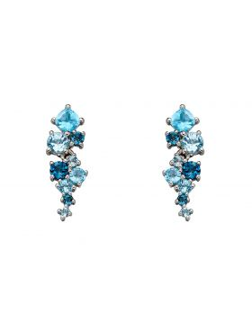 Blue Topaz and White Gold Earrings