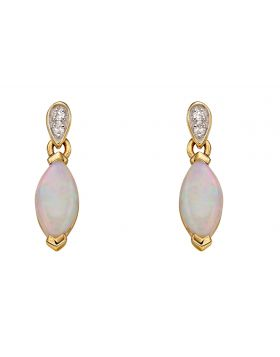 Yellow Gold Earrings with Opal and Diamonds
