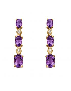 Yellow Gold Earrings with Purple Amethyst and Diamonds