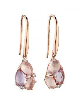 Rose de France and Rose Quartz Cluster Earrings (GE2276)
