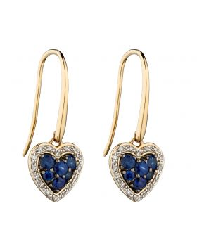 Sapphire and Diamond Heart Earrings (GE2285L)