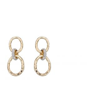 Hammered Gold and Diamond Connector Earrings (GE2303)