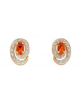 Fire Opal Stud Earrings (GE2316R)