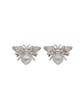 White Gold Bee Earrings (GE2323)