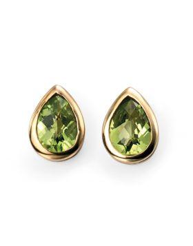 9ct Yellow Gold Peridot Teardrop Stud Earrings