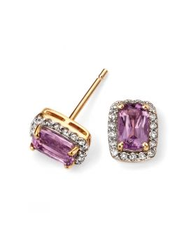 9ct Yellow Gold Diamond and Amethyst Stud Earrings