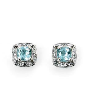 9ct White Gold Diamond and Aquamarine Stud Earrings