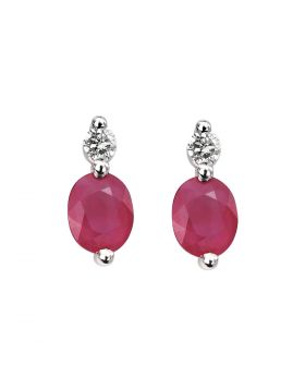 GE752R 9ct WHT DIA & RUBY EARRING