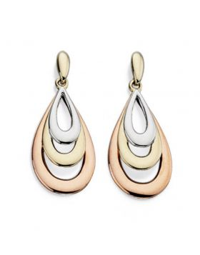 9ct Yellow, White and Rose Gold Teardrop Earrings