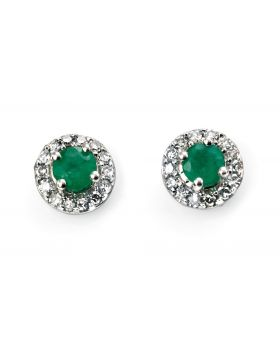 GE888G 9ct WHT DIA EMERALD Stud ERNG