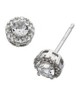 9ct White Gold Diamond and White Topaz Stud Earrings