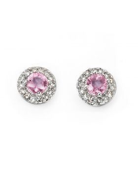 9ct White Gold Pink Sapphire and Diamond Stud Earrings