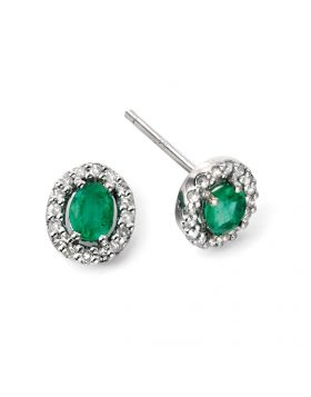 GE943G 9ct WHT DIA GREEN EMERALD EAR