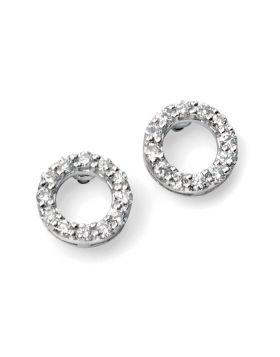 9ct White Gold Diamond Circle Earrings