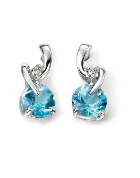 9ct White Gold Diamond and Blue Topaz Twist Earrings