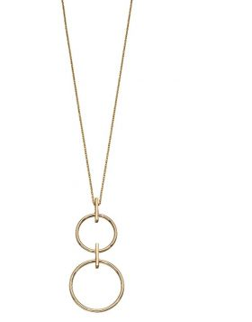 9ct Yellow Gold Double Circle Necklace (42cm) by Elements Gold