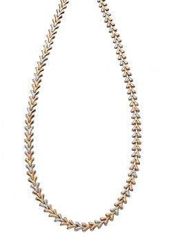 9ct Triple Tone Triangle Necklace