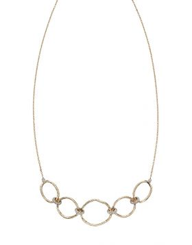 Hammered Gold and Diamond Connector Necklace (GN337)