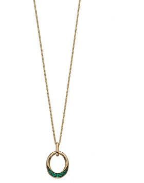 Yellow Gold  emerald pave oval donut pendant