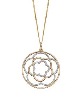 Diamond Flower Circle Pendant (GP2183)