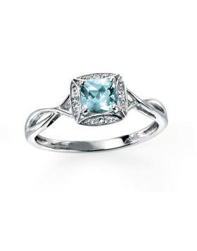 9ct White Gold Diamond and Aquamarine Ring