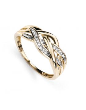 GR377 9ct YEL DIA Plaited RING