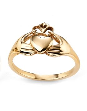 GR498 9ct YELLOW Claddagh RING