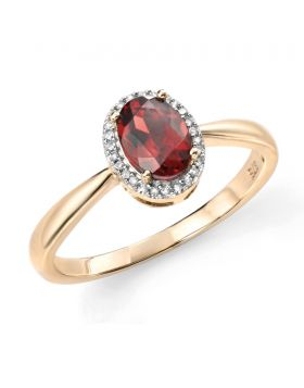 9ct Yellow Gold Diamond and Red Garnet Oval Ring