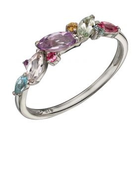 9ct White Gold Mix Stone Ring