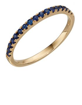 Yellow gold sapphire band ring