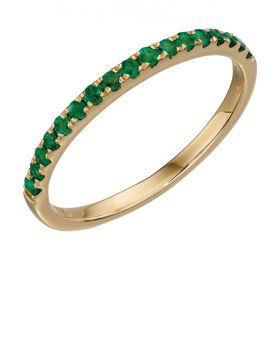 Yellow gold emerald band ring