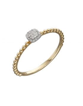 Yellow Gold bobble and Diamonds pavee cushion ring