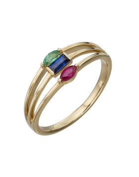 Yellow Gold triple band ring with ruby, sapphire and emerald