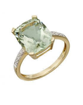Green amy and diamond cocktail ring