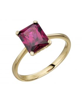 Rhodolite garnet emerald cut cocktail ring
