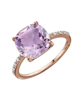 Rose Gold Ring with Pink Amethyst and Diamonds