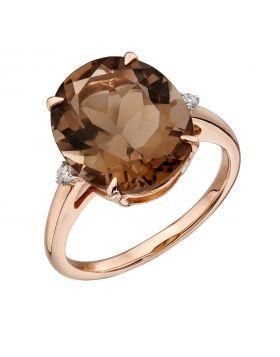 Oval Set Smokey Quartz Rose Gold Ring (GR559Y)