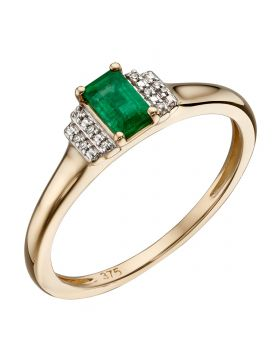 Emerald and Diamond Deco Ring (GR567G)