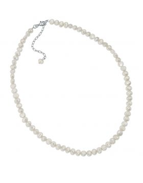 White Freshwater Pearl Single Row Necklace