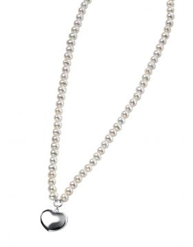 Freshwater Pearl and Puff Heart Necklace