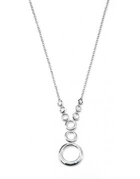 Hammered and Polished Multi Circle Silver Necklace