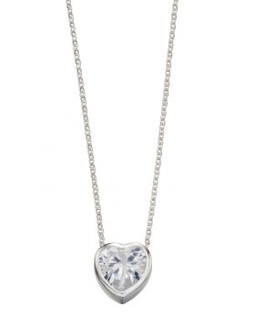 N3843C CLEAR CZ Heart 42+2cm NECK